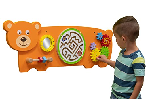 71IExw4spLL. SX522  - Bear Activity Wall Panel  - Toddler Activity Center - Wall-Mounted Toy - Busy Board Decor for Bedrooms, Daycares and Play Areas