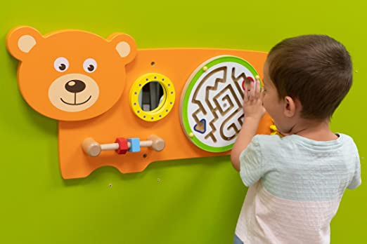 81fRhmlz6L. SX522  - Bear Activity Wall Panel  - Toddler Activity Center - Wall-Mounted Toy - Busy Board Decor for Bedrooms, Daycares and Play Areas