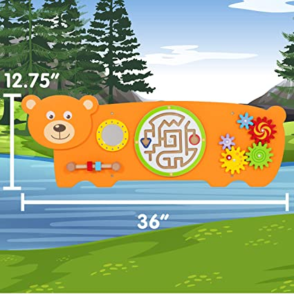 81vYTgwZaL. SX425  - Bear Activity Wall Panel  - Toddler Activity Center - Wall-Mounted Toy - Busy Board Decor for Bedrooms, Daycares and Play Areas