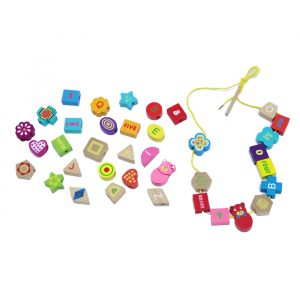 LacingsBear geometric beads 300x300 - Wooden Lacing Bear Geometric Shapes