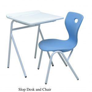 DESKCHAIR SLOP 300x300 - SINGLE STUDENT DESK & CHAIR BLUE