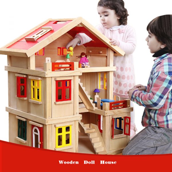 Happy family wooden toy dollhouse 1 600x600 - Happy Family Doll House