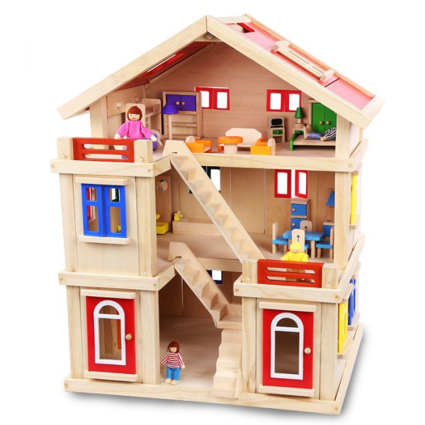 Happy family wooden toy dollhouse 2 600x600 - Happy Family Doll House