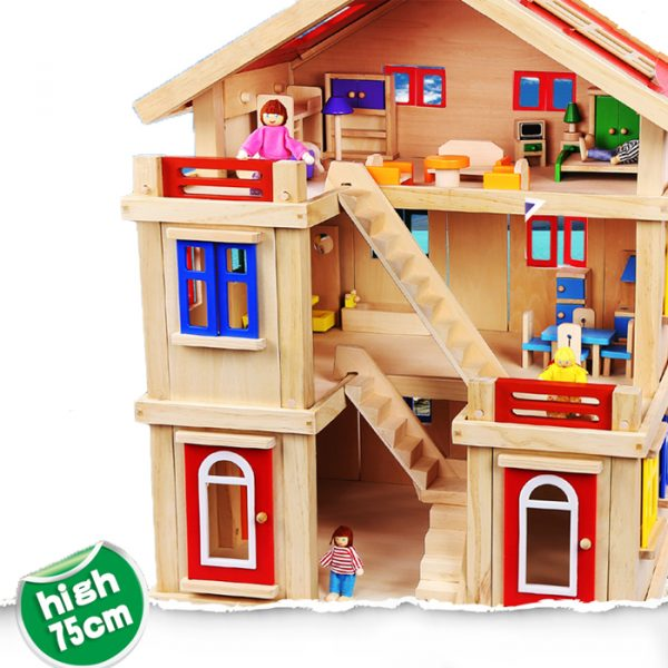 Happy family wooden toy dollhouse 4 600x600 - Happy Family Doll House