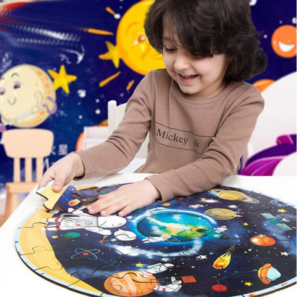 Planets Jigza 600x600 - Wooden Jigsaw Puzzle (Planet Map)