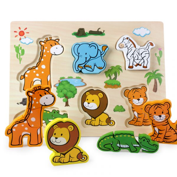 New Arrival Baby Toys 3D Puzzle Wooden Toys Carton Animal Fruit Vehicle Matching Board Children Educational 2 600x600 - Wooden Puzzles (set of 6)