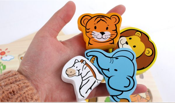 New Arrival Baby Toys 3D Puzzle Wooden Toys Carton Animal Fruit Vehicle Matching Board Children Educational 3 600x355 - Wooden Puzzles (set of 6)