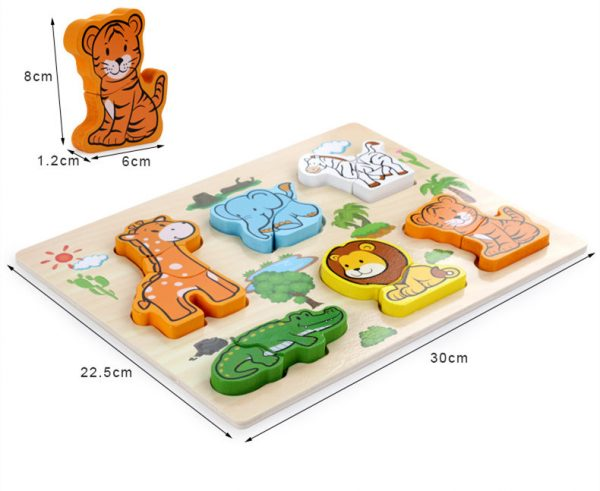 New Arrival Baby Toys 3D Puzzle Wooden Toys Carton Animal Fruit Vehicle Matching Board Children Educational 4 600x491 - Wooden Puzzles (set of 6)