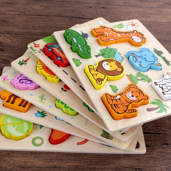New Arrival Baby Toys 3D Puzzle Wooden Toys Carton Animal Fruit Vehicle Matching Board Children Educational 600x600 - Wooden Puzzles (set of 6)