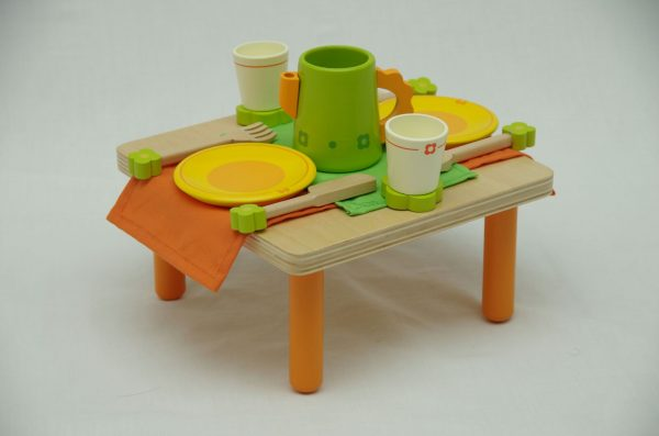 wooden teaset with table 600x397 - Wooden tea set with table