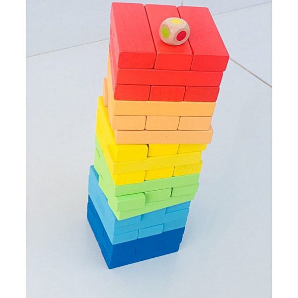 1 2 600x600 - Tumble Tower, Lewo Wooden Stacking Board Games Building Blocks For Kids - 48 Pieces