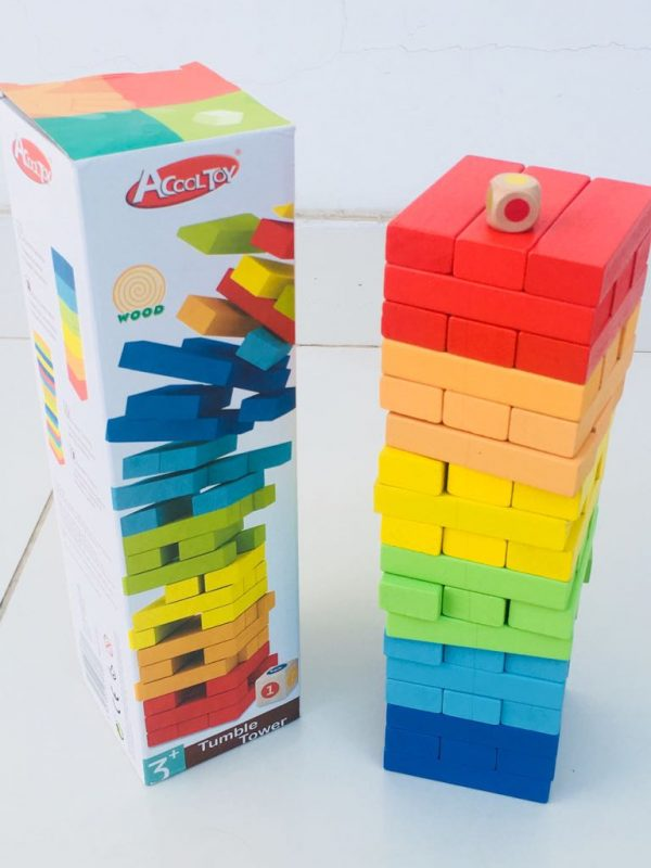 tumble tower 600x800 - Tumble Tower,  stacking board game 54 Pieces