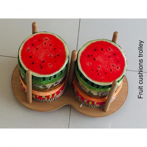 1 1 600x600 - 14 Fruit cushions with storage trolley