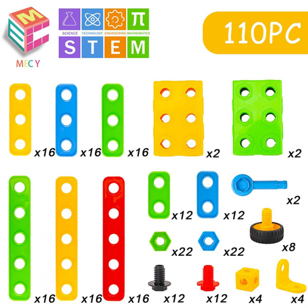 mecy stem 600x600 - MERCY STEM Learning | Original 110 Piece Educational Construction Engineering Building Blocks Set for 3,4,5,6 Year Old Boys & Girls | Best Kids Toy | Creative Games & Fun Activities