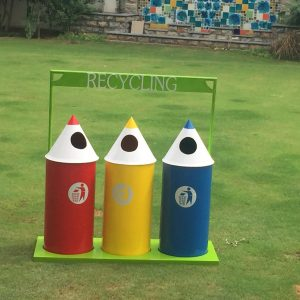 IMG 3306 300x300 - Novelty Smiley Face Recycling Bins(set of 3)with stand