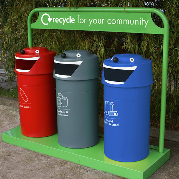 Happy Face Unit Recycling Bins Set Of 3 Inventors