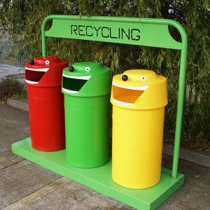 recycling bins green living 300x300 - Happy face unit Recycling Bins ( set of 3)