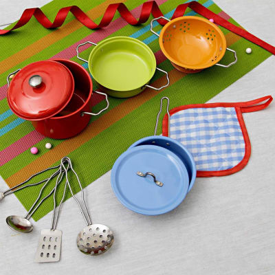 p 11 pieces little chef cooking set 23835 m - Metallic kitchen Utensils for kids (8 Pcs)