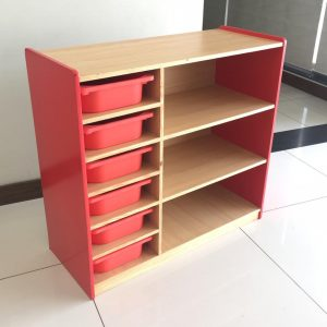 54933435 9ac0 42b6 973e f09413a8ecf3 300x300 - Bubblegum Red book shelf with 6 tubs