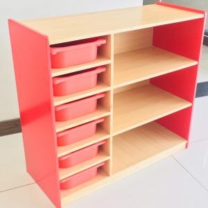 94f4b8bf 06d1 471c a75c e036c2a18f5e 300x300 - Bubblegum Red book shelf with 6 tubs