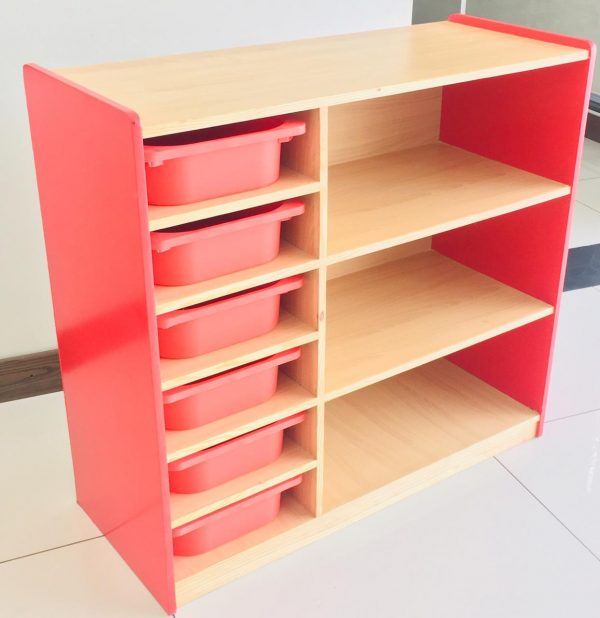 94f4b8bf 06d1 471c a75c e036c2a18f5e 600x618 - Bubblegum Red book shelf with 6 tubs