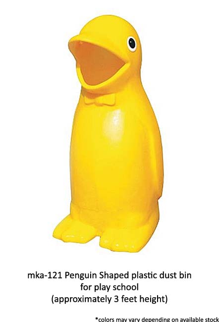 mka 121 penguin shaped plastic dust bin for play school - Penguin bin large