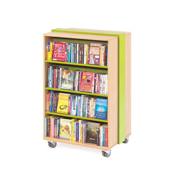 mobile bookcase green x550 - Mobile Straight Bookcase