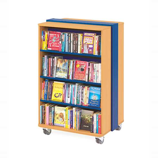 straight blue x500 - Mobile Straight Bookcase
