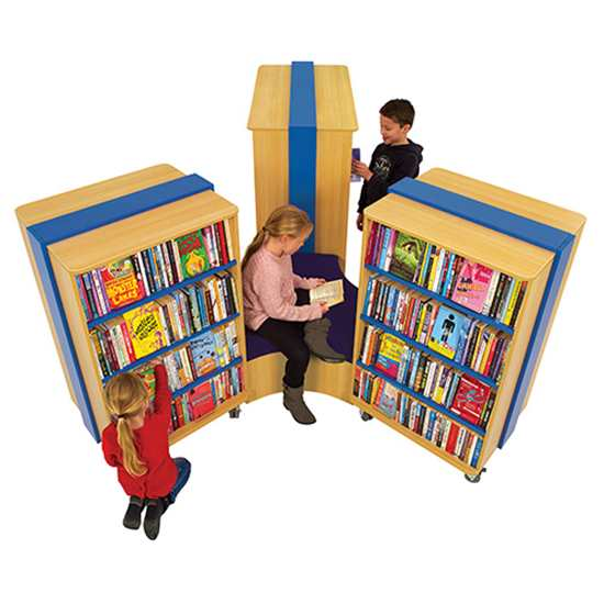 straight in library x500 - Mobile Straight Bookcase