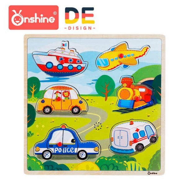 Onshine Children Sound Jigsaw cognitive animal traffic vehicles hand grasping puzzle sensation sound simulation toys baby.jpg 640x640q70 1 600x600 - Sound Puzzle Set of 3