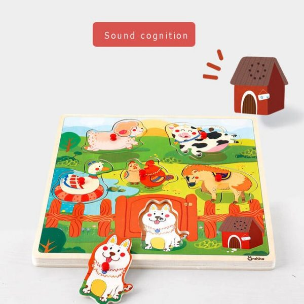 Onshine Children Sound Jigsaw cognitive animal traffic vehicles hand grasping puzzle sensation sound simulation toys baby.jpg 640x640q70 2 600x600 - Sound Puzzle Set of 3