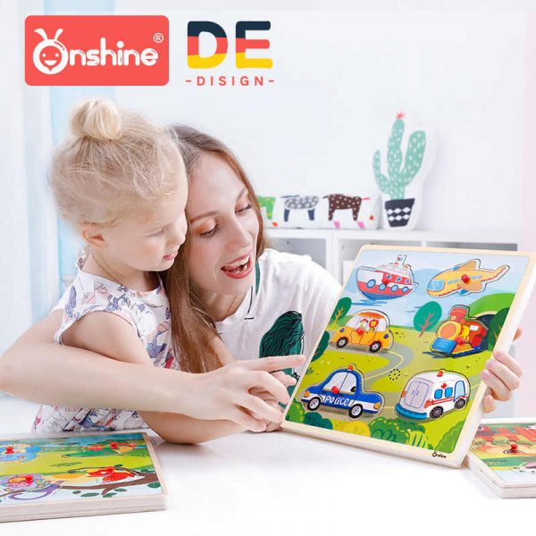 Onshine Children Sound Jigsaw cognitive animal traffic vehicles hand grasping puzzle sensation sound simulation toys baby.jpg q50 600x600 - Sound Puzzle Set of 3